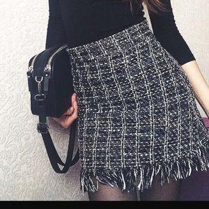 Dresses & Skirts - Woolen Mini Skirt - black/white